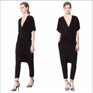 NWOT Zara harem pant jumpsuit sz medium in black